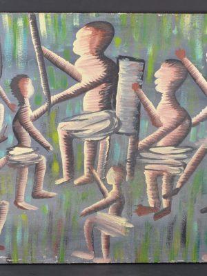 Huile sur toile Scène de dance, Kabinda – Ecole D'Elisabethville