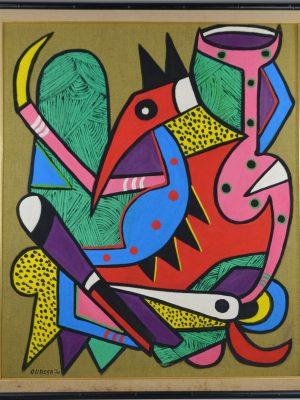 Peinture à l'huile abstrait par Philippe Ouassa,  Congo-Brazzaville 1970