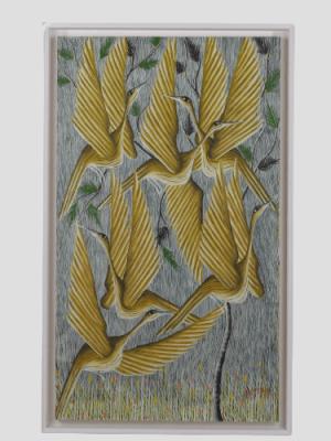 Louis Kanyemba, peinture huile sur isorel, Ecole d'Elisabethville