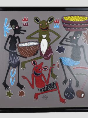 George Lilanga – Huile sur isorel – Abondance de nourriture, 1998