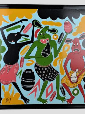 George Lilanga – Huile sur isorel – kini akwango